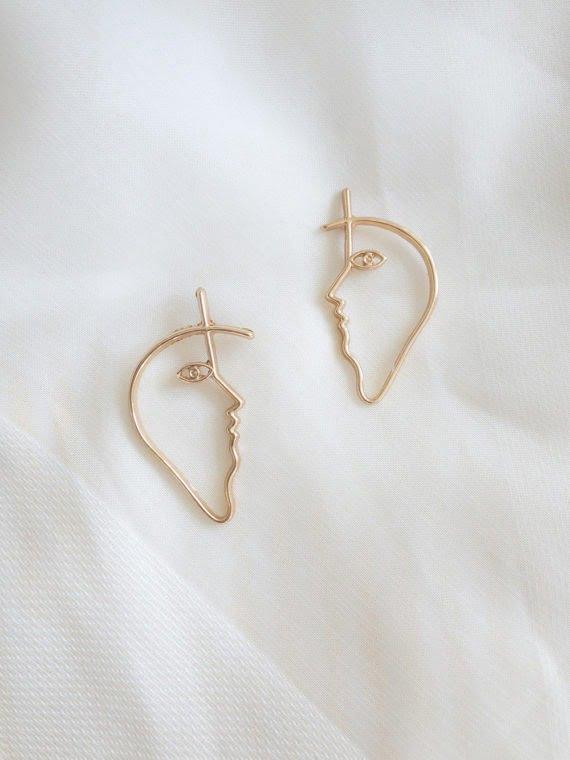 KAJO Face Sketch Earrings 4
