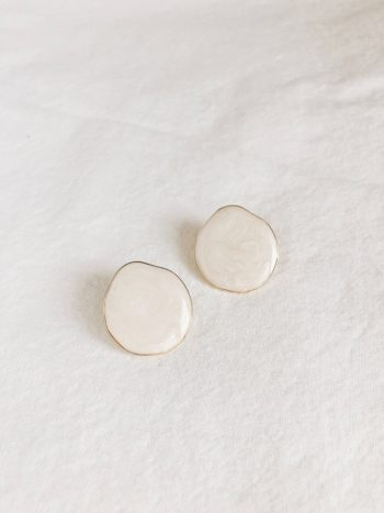 KAJO Lily Round Earrings Beige 1