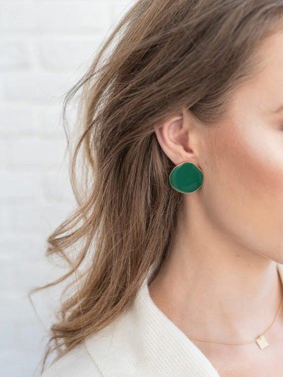KAJO Lily Round Earrings Green 3