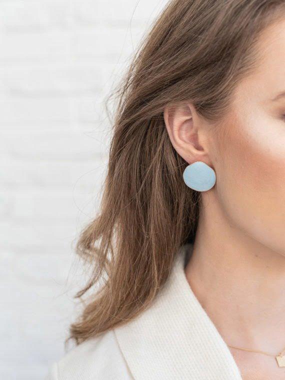 KAJO Lily Round Earrings Sky Blue 4