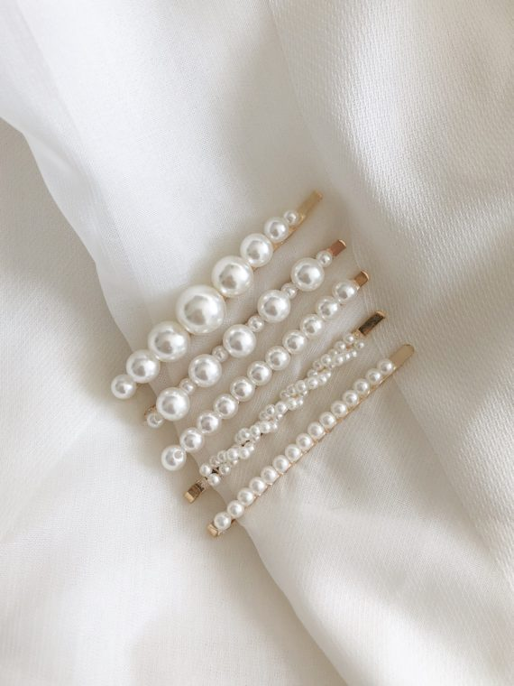 Solar Set of 5 pearl bobby pins 3
