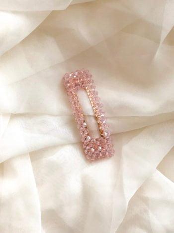 Różowa prostokątna spinka z kryształkami