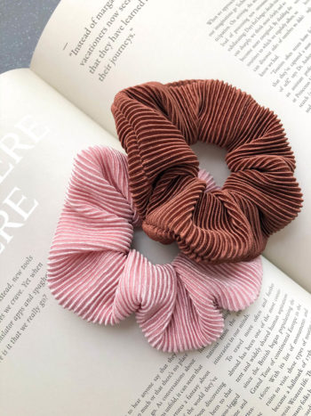 Karbowana Scrunchie Brown Pink KAJO 0