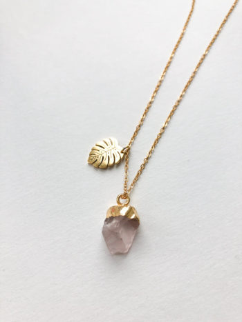 KAJO JEWELS Naszyjnik Monstera Rose Quartz Necklace 1