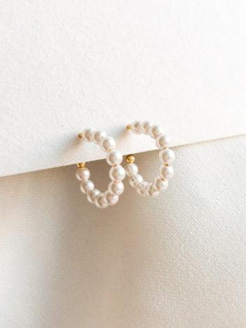 Złote perłowe kolczyki koła MICRO 1
